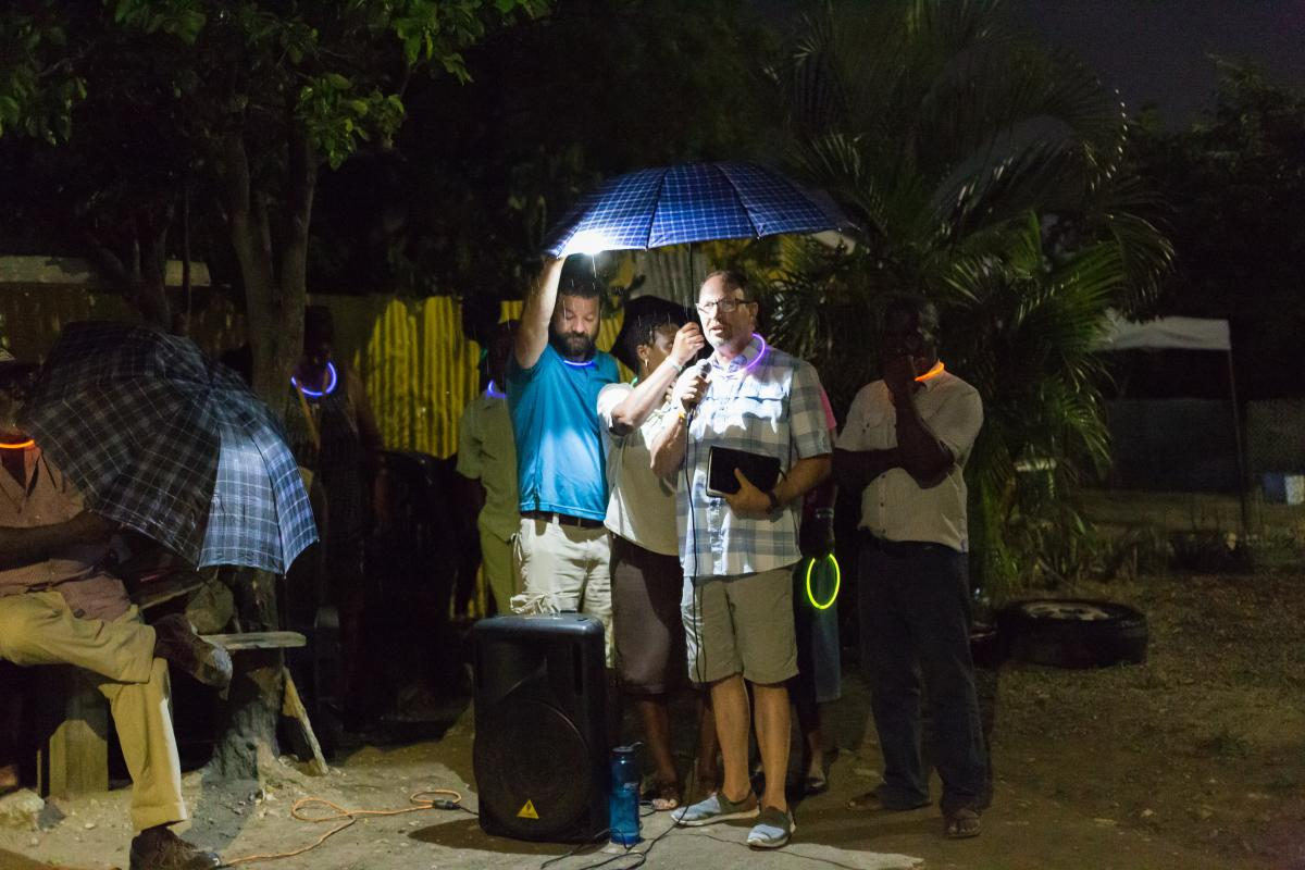 Darrin Bible night preaching during a DiscipleTrips
