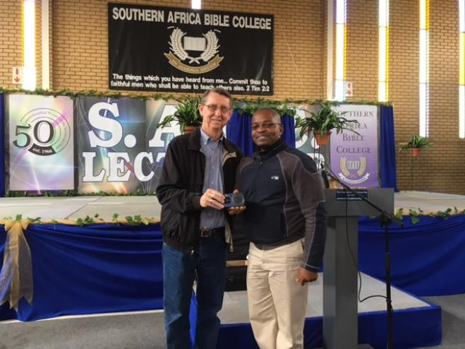 Truitt presenting Solar Players at Southern Africa Bible College's 50th Anniversary