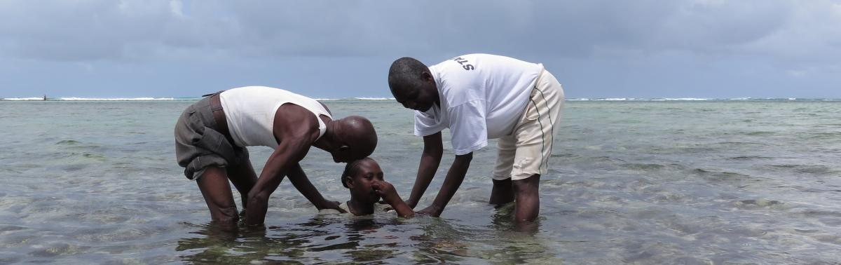 Baptism in the Indian Ocean in Western Kenya